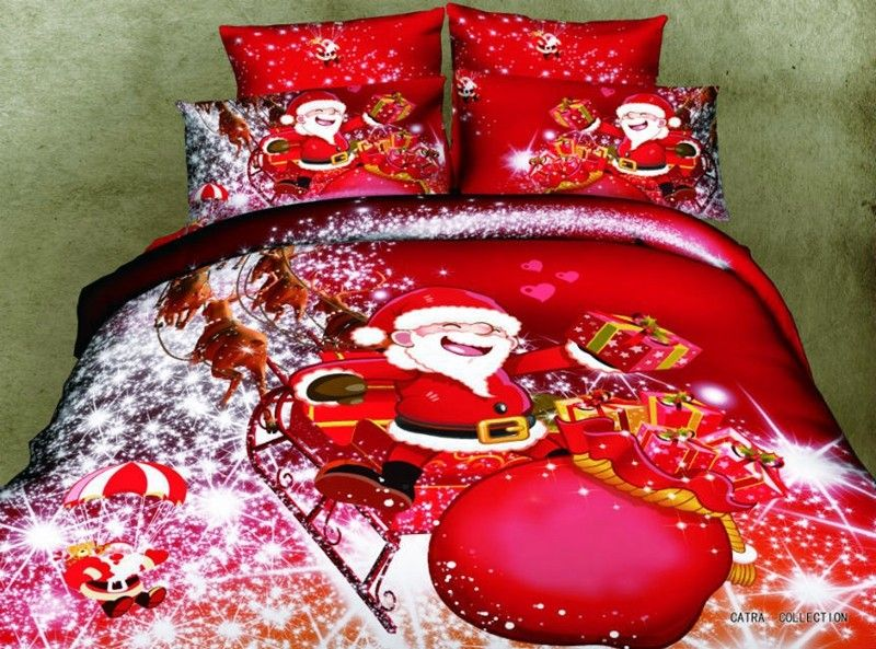 Christmas Gift Santa Claus Red 4pcs 3d Print Bedding Sets Queen Size