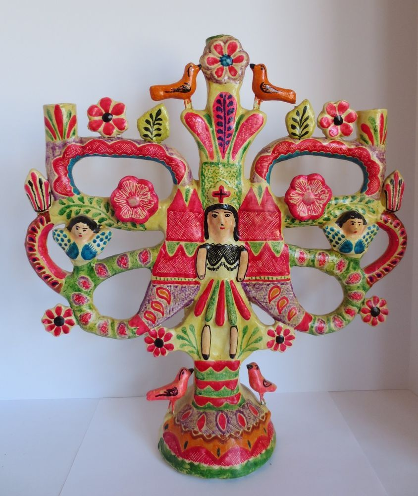 Vintage Mexico Mexican Pottery Large Tree Of Life Candelabra Mexican Pottery Mexican Folk Art Mexican Art