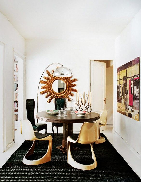 Tour a Feminine, Collected Barcelona Home // Glamorous Eclectic Dining Room