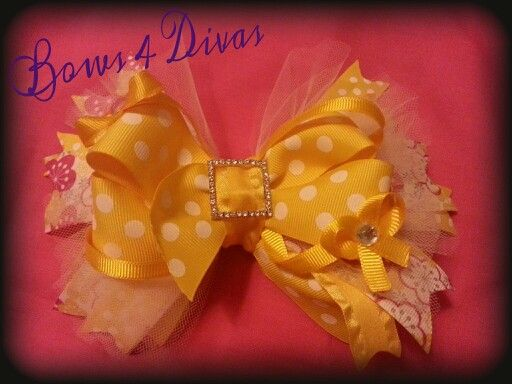 Yellow mellow.  Check out my page on fb. Www.facebook\bows4divas2.com
