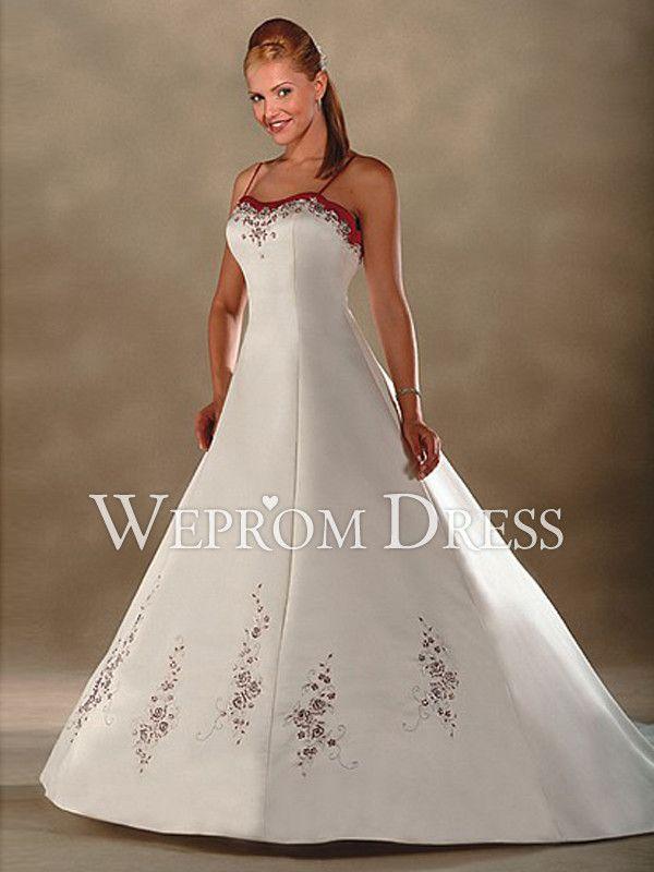 Rojo y blanco vestidos de novia princesa