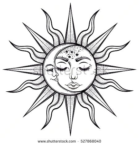 Bohemian Hand Drawn Sun And Moon Vector Illustration For Coloring In 2020 Sun And Moon Drawings How To Draw Hands Sun Tattoo Designs