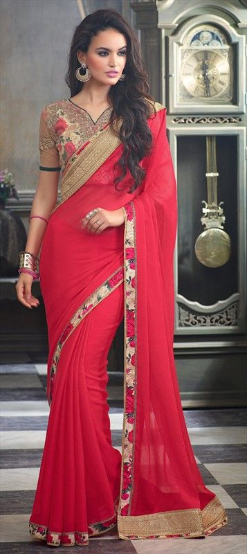 182513 Red and Maroon  color family Embroidered Sarees, Party Wear Sarees in Faux Chiffon fabric with Lace, Machine Embroidery, Sequence work   with matching unstitched blouse.
