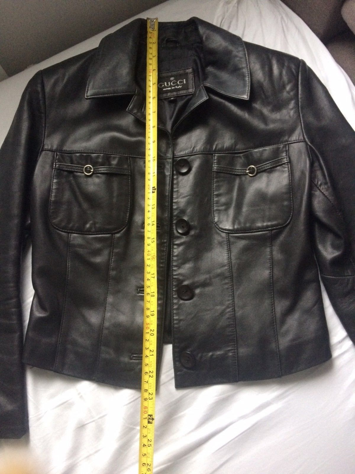 f927432f2ee GUCCI black leather jacket size s