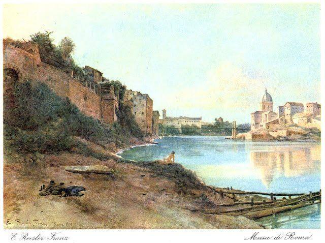 Veduta del Tevere all'altezza di San Giovanni dei Fiorentini. Acquerello di Ettore Roesler Franz