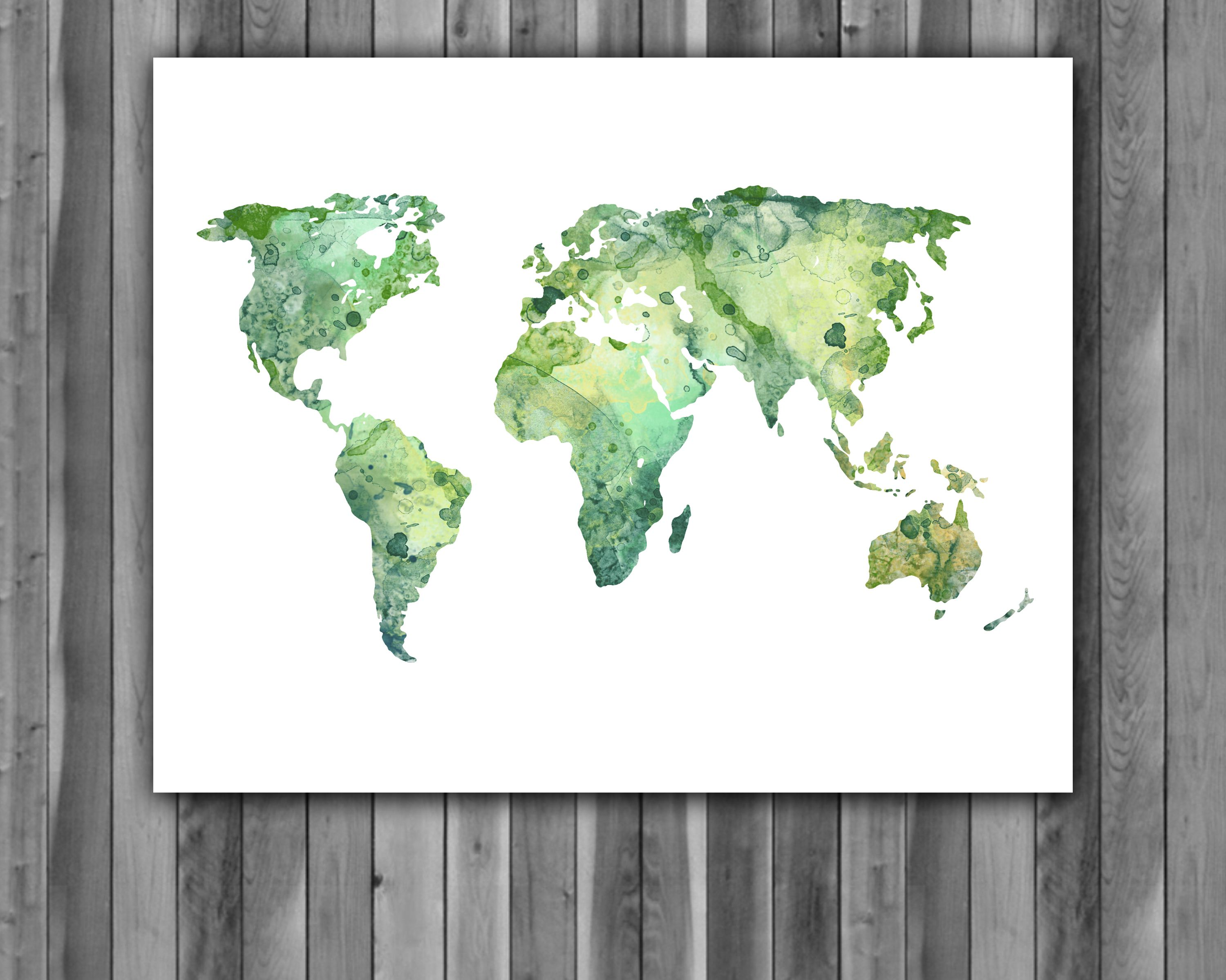 World map poster watercolor painting wall art print instant download world map poster watercolor painting wall art print instant download home decor gumiabroncs Images