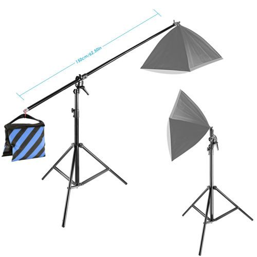 Neewer 10ft 3m Two Way Rotable Tripod Boom Light Stand With Sandbag Patio Umbrella Light Outdoor Decor