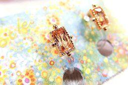露天拍賣 日本究極!日本製【華麗輕舞 可愛寶石 cz鑽 方晶簡約  】夾式耳環 項鏈 紫 香檳 白