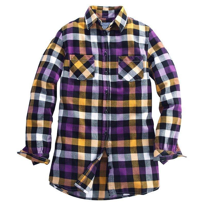 Cecelia Plaid Flannel Shirt (Women) Yellow/Purple - Fall LSU Tailgating! Cecelia Plaid Flannel Shirt (Women) Yellow