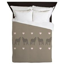 Pink and Brown Country Horse Girl Queen Duvet for