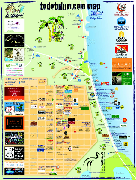 Tulum Tourist Map 2009 | Trekking | Tulum mexico, Tulum mexico map on