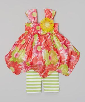 This Gerson & Gerson Yellow & Red Flower Handkerchief Top & Stripe Leggings - Infant by Gerson & Gerson is perfect! #zulilyfinds