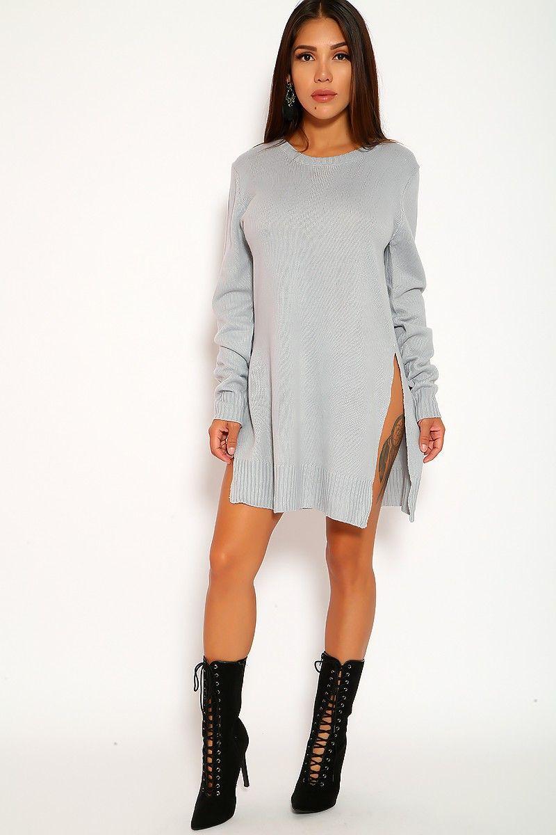 Gray side cutouts long sleeve knitted winter sweater dress in