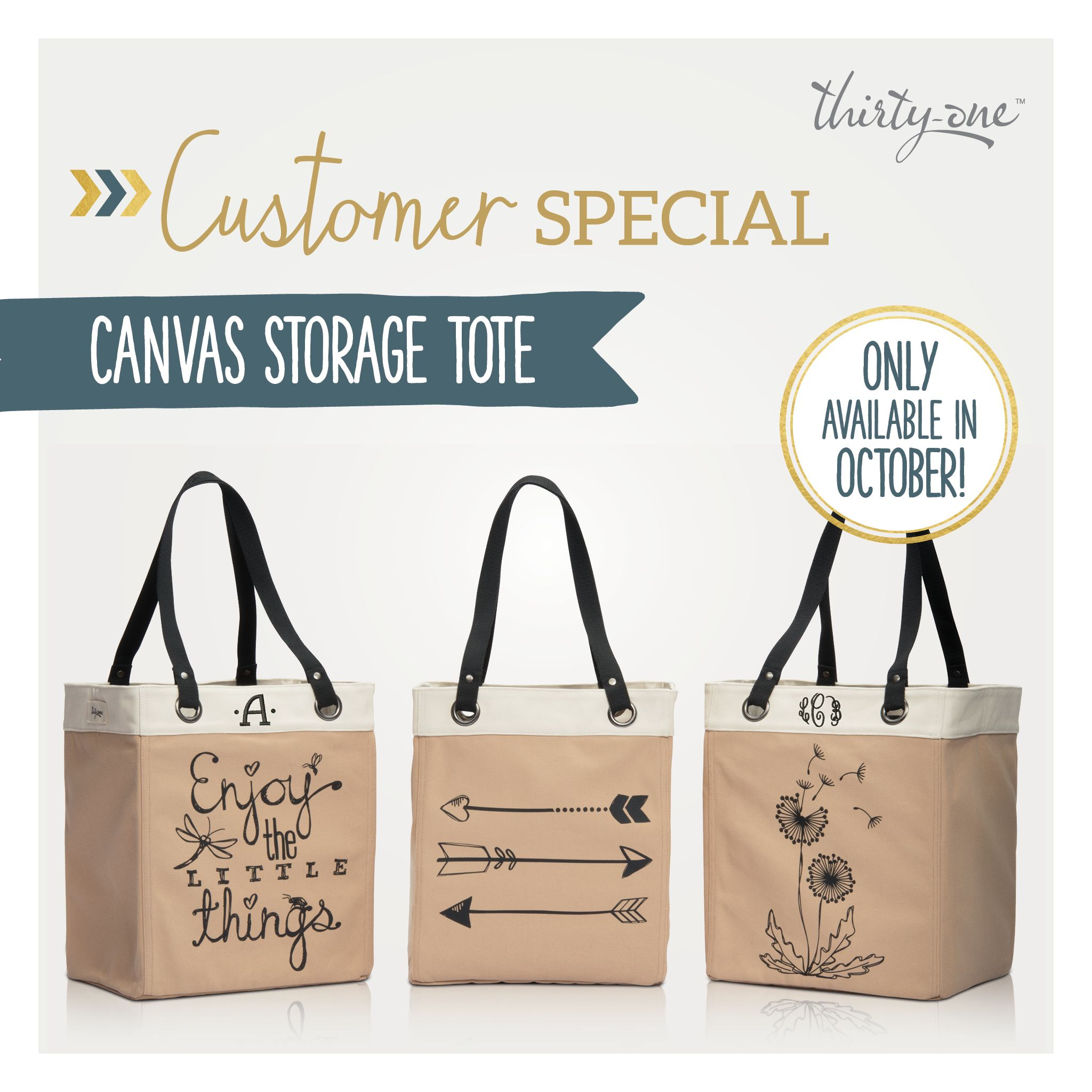 Thirty Oneu0027s October Customer Special!   Canvas Storage Tote   Only  Available This Month