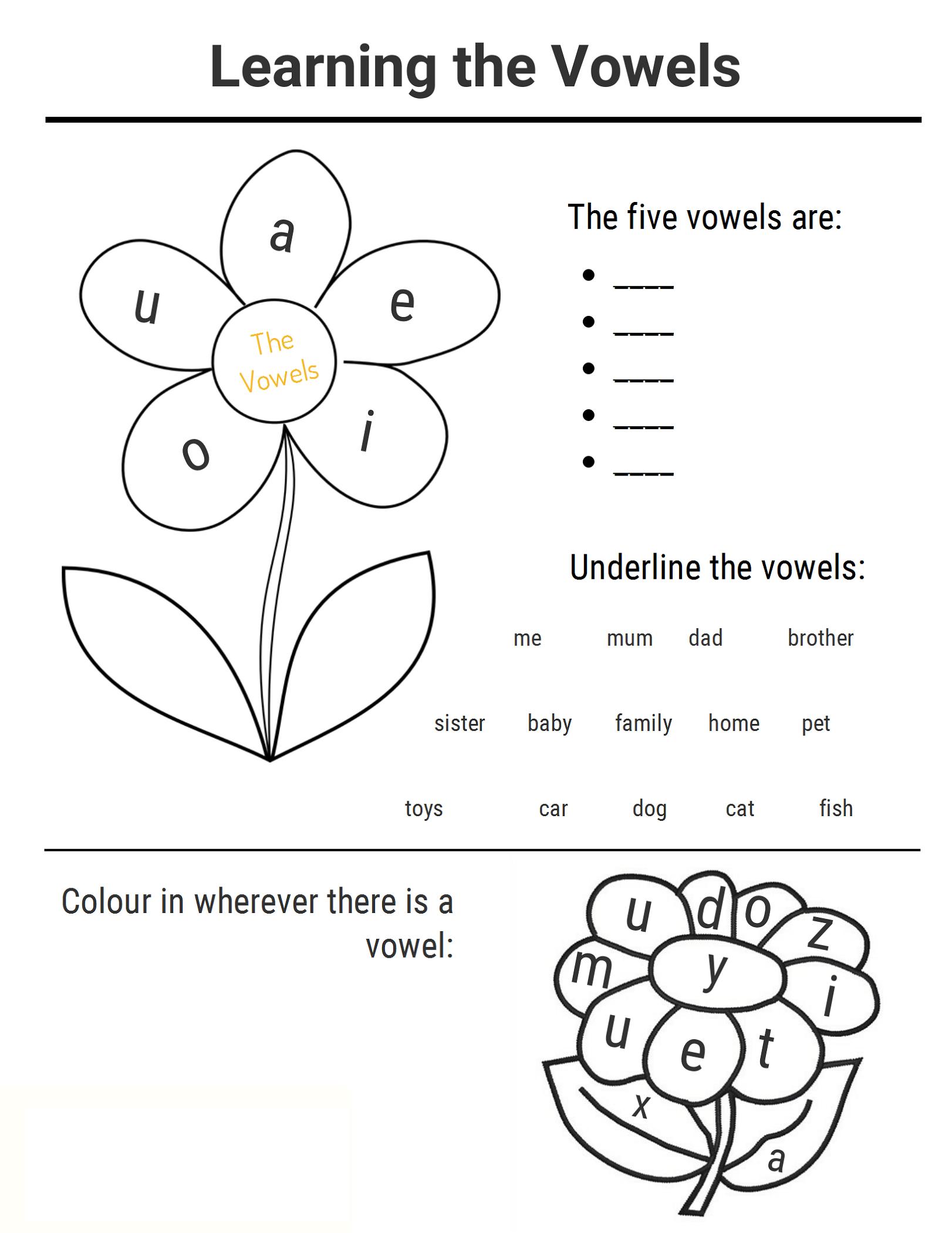 Printable Vowel Learning Ks1 Worksheets