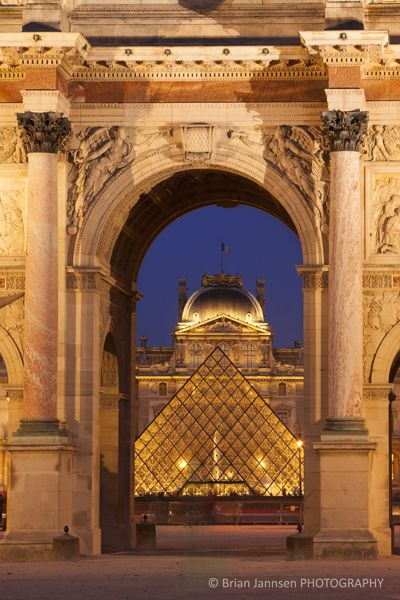 Glass Pyramid And Entrance To Musee Du Louvre Paris France By