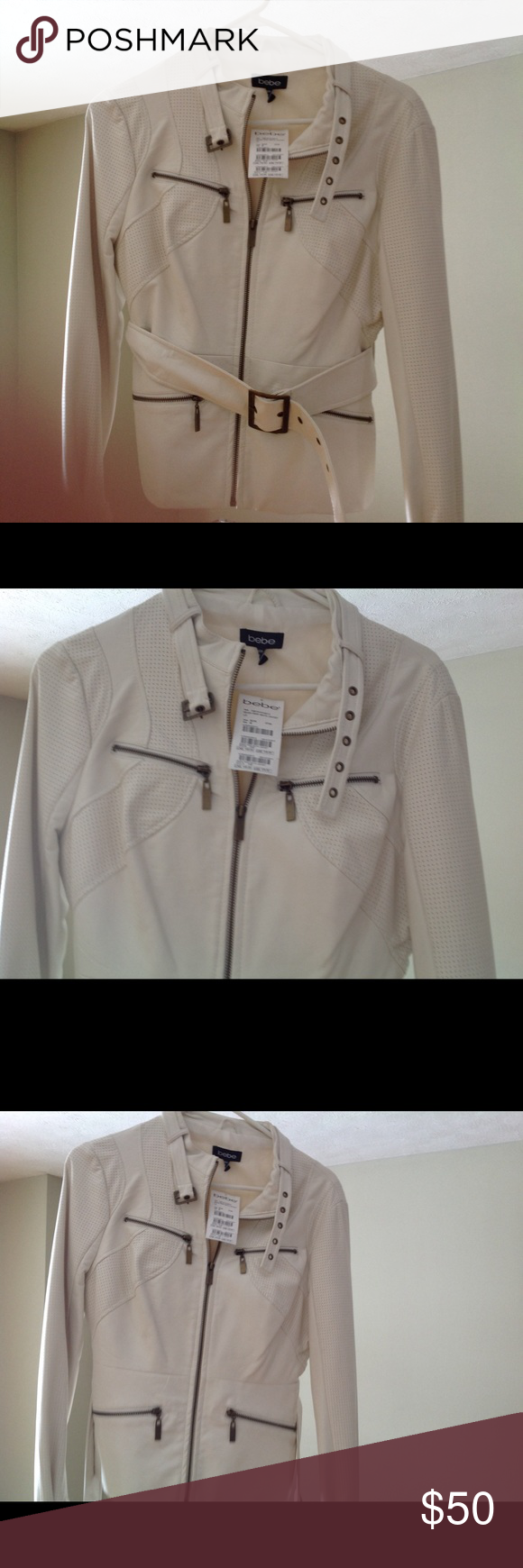 New Bebe faux leather motorcycle jacket off white Faux