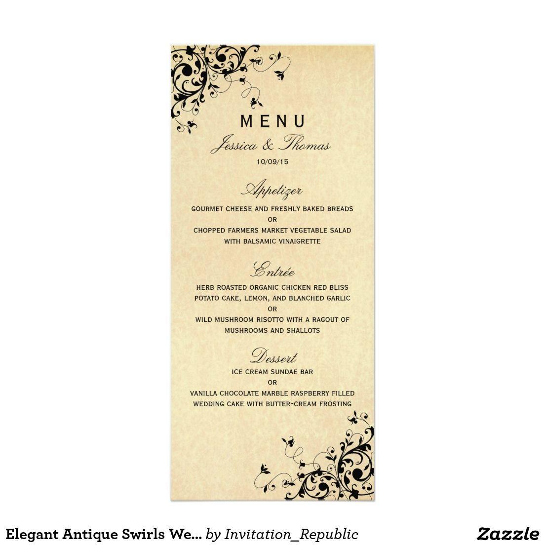 Elegant Antique Swirls Wedding Menu Rack Card Template | restaurant ...