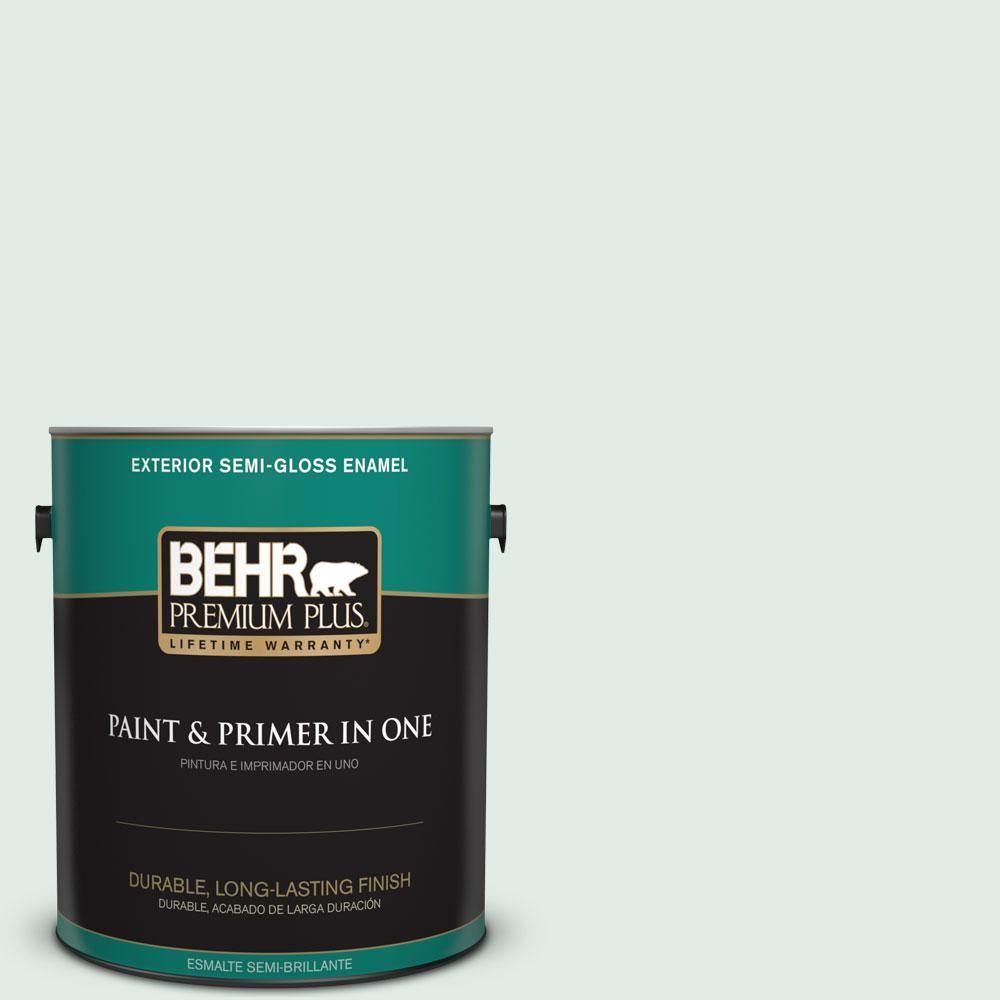 BEHR Premium Plus 1-gal. #icc-37 Beach Glass Semi-Gloss Enamel Exterior Paint