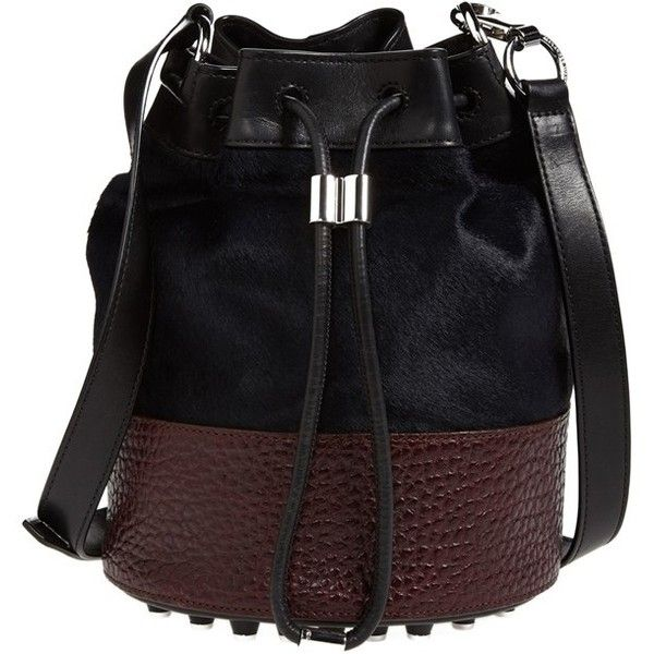 Alexander Wang 'Alpha' Leather & Calf Hair Bucket Bag (3.600 BRL) ❤ liked on Polyvore featuring bags, handbags, shoulder bags, lake, studded purse, black purse, black studded handbag, leather purse and black leather handbags