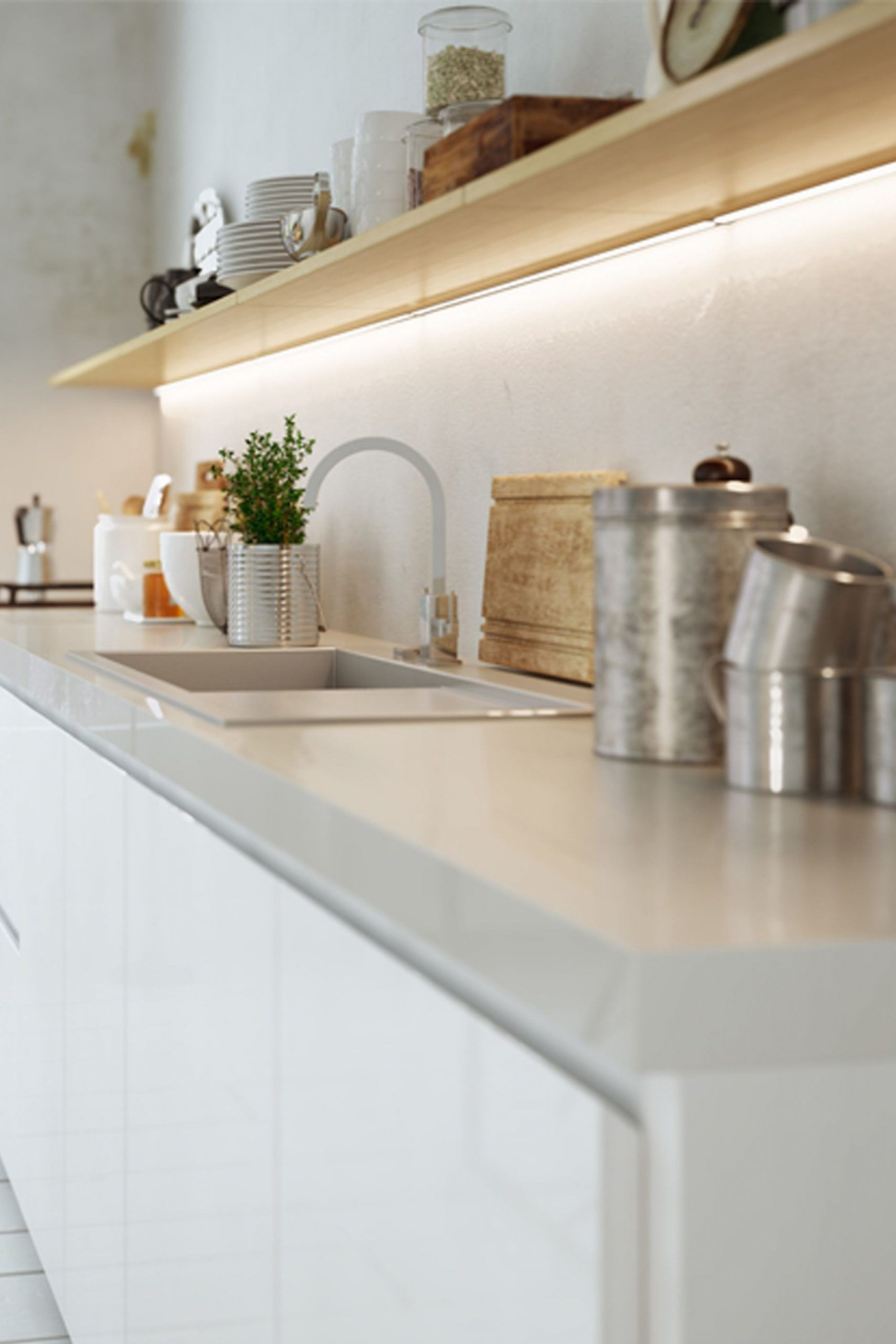 Stripeled Unterbau Lichtleiste Fur Die Kuche In 2020 Kitchen Interior Cosy Kitchen Home Decor Shelves