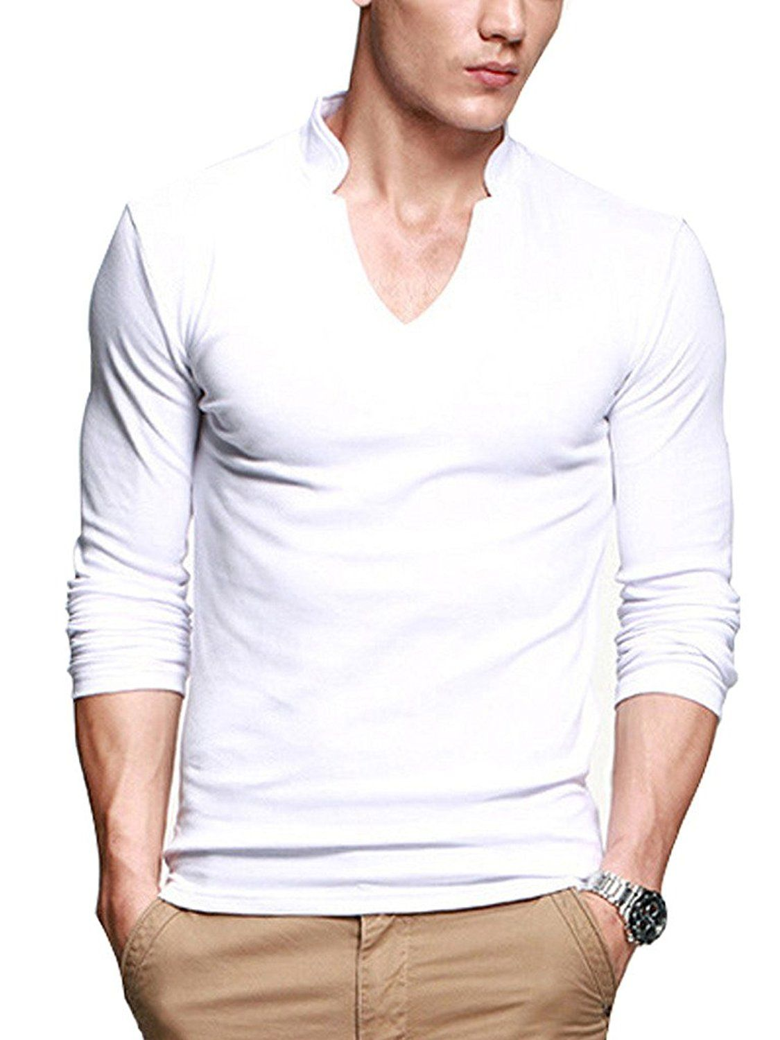 Ilovesia mens t shirts long sleeves cotton for Mens long sleeve casual cotton shirts