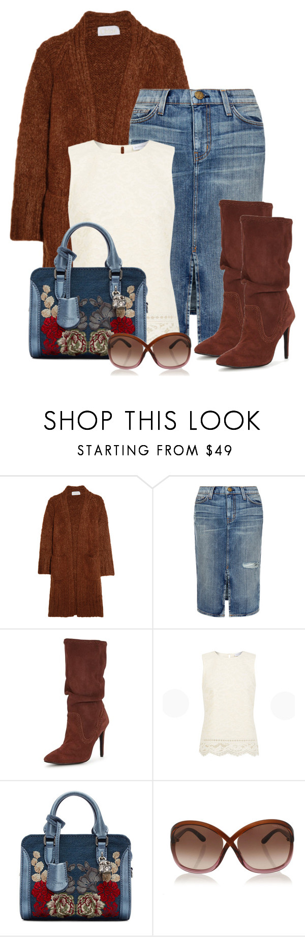 """""""Untitled #658"""" by seahag2903 ❤ liked on Polyvore featuring Chloé, Current/Elliott, Warehouse, Alexander McQueen and Tom Ford"""