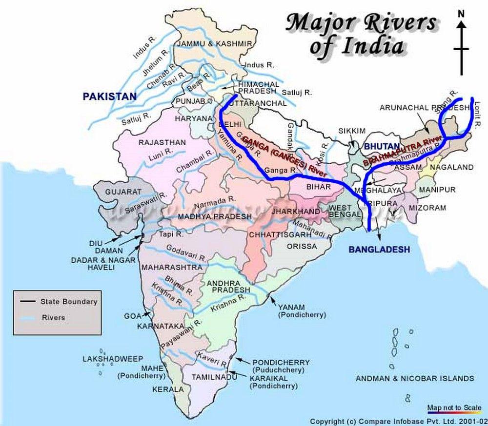 Map Ganges  Brahmaputra Sacred Rivers of India  Maps