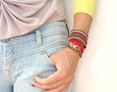 leather and crochet bracelet, Etsy