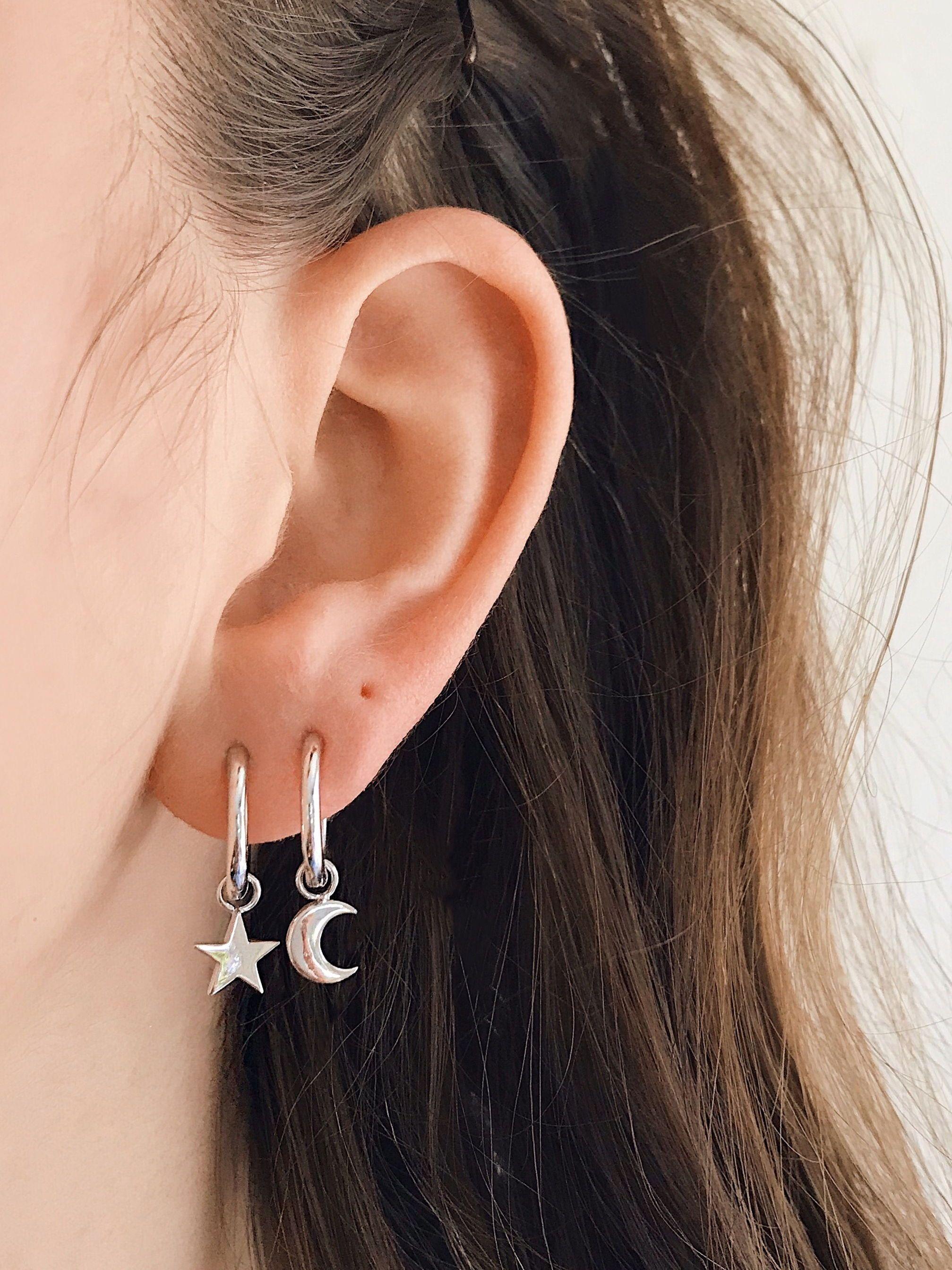 05eda3500 Star moon ear hoop. Star moon hoop earring. Sterling silver product. Star  moon