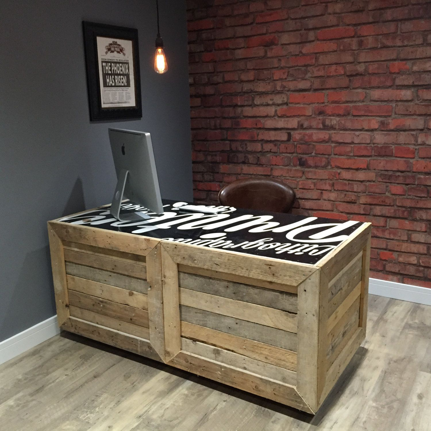 Reclaimed Pallet Wood Desk With Rolling Castors Customizable Painted Printed Top Handmade In
