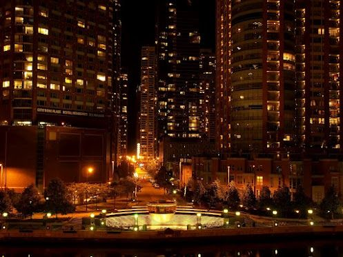 River North at night from across the Chicago River looks very enchanting.      Dan Susek 2012