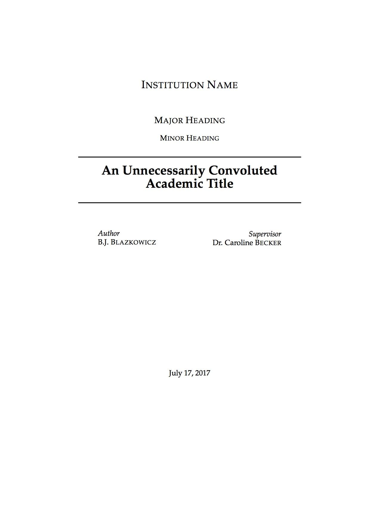 Academic Title Page Latex Template  Latex    Template