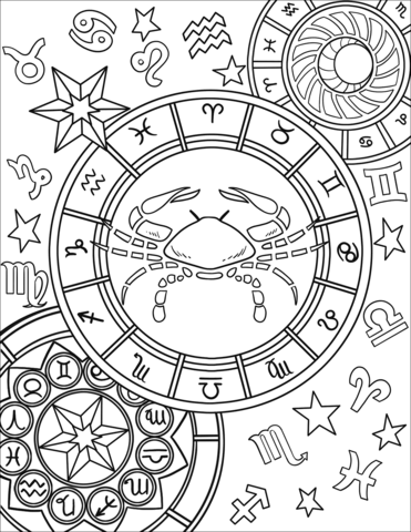 Signo Del Zodiaco Cáncer Dibujo Para Colorear Signos Del Zodiaco Cáncer Signos De Zodiaco Cáncer Páginas Para Colorear