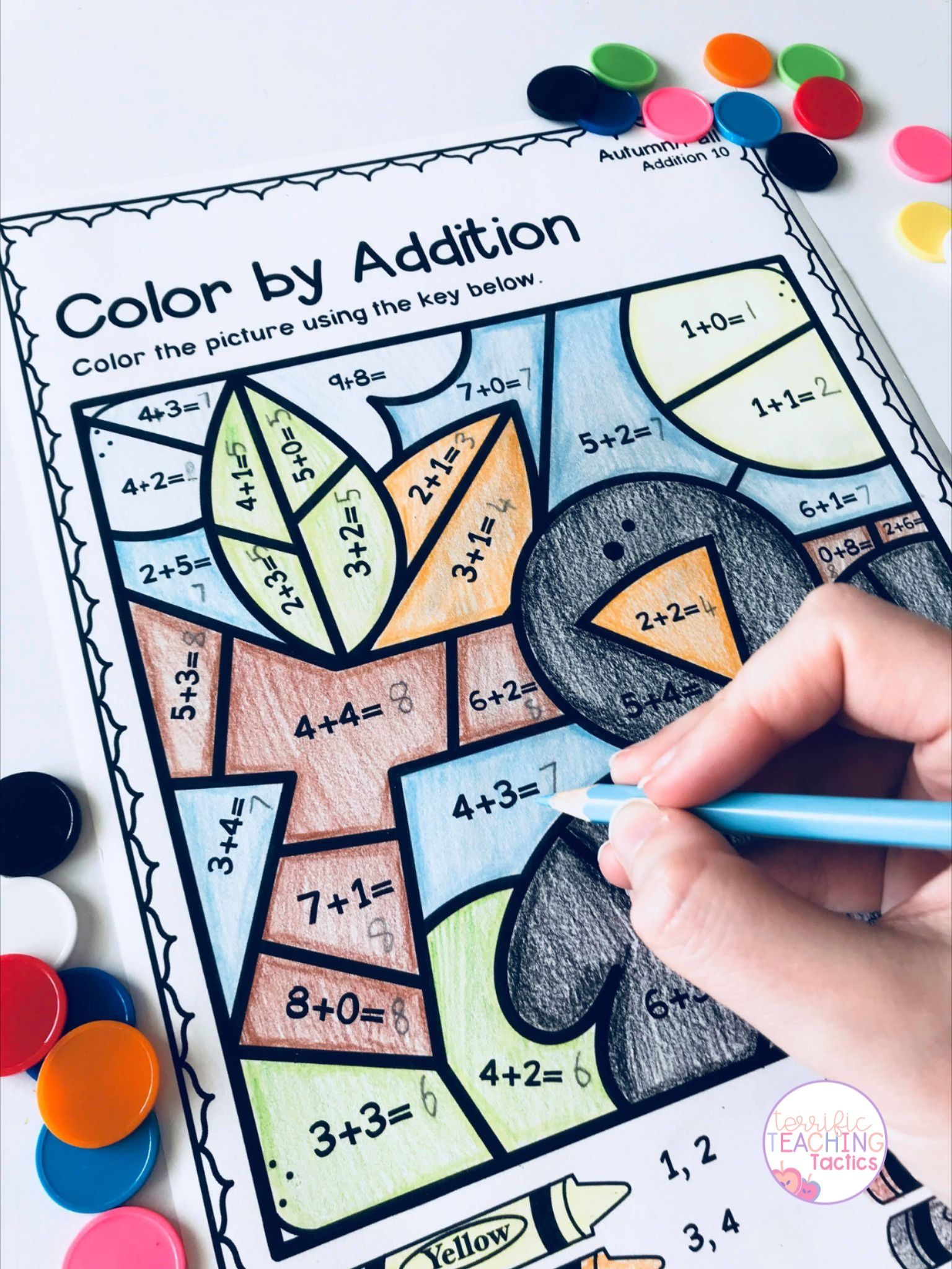 Autumn Fall Color By Addition Worksheets In
