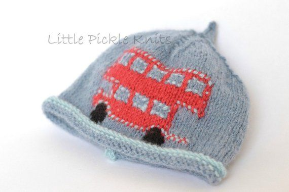BABY KNITTING PATTERNS 4ply beanie hat - little bus- newborn to 5 years - flat  knitting 9af312780f4