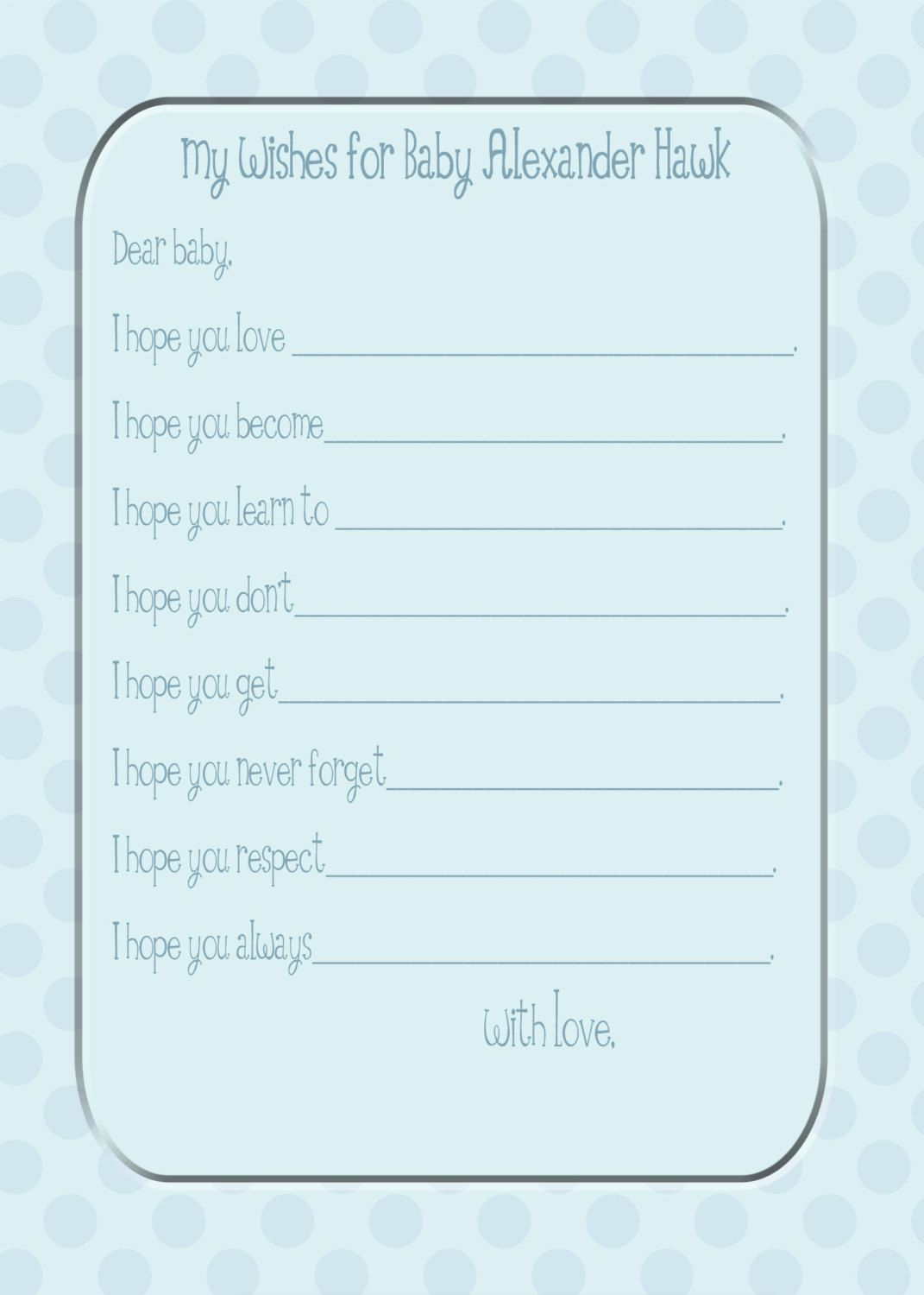 wishes for baby printable template - wishes for baby shower template shower ideas