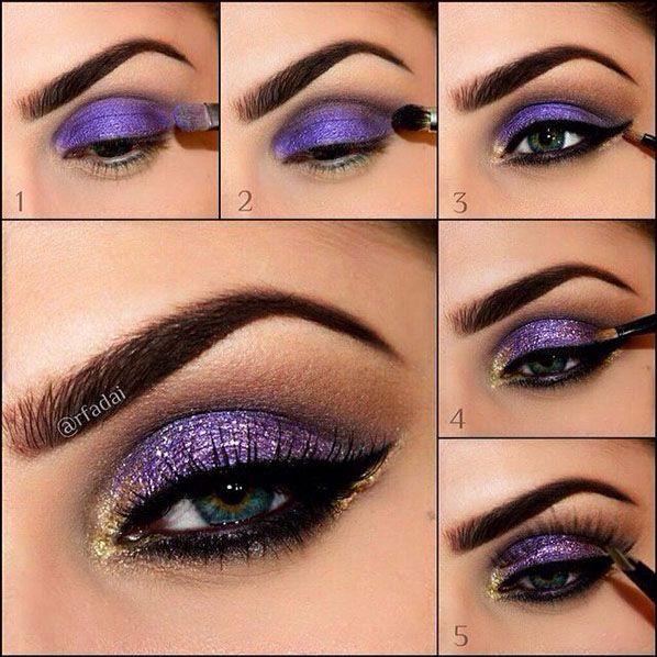 Amazing Collection of Purple Eye Makeup Tutorial | Gold eyes ...