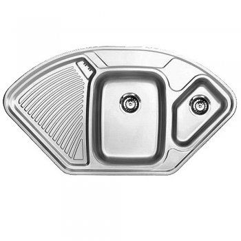 Astracast Lausanne 1 5 Bowl Polished Stainless Steel Corner Kitchen Sink Lhd Astracast From Taps Uk Corner Sink Kitchen Corner Sink Kitchen Sink