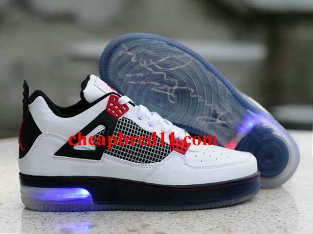 new arrival cafe5 d9f68 Glow In The Dark Nike Air Force + Nike Jordans 4(IV) Fusion White Black Red
