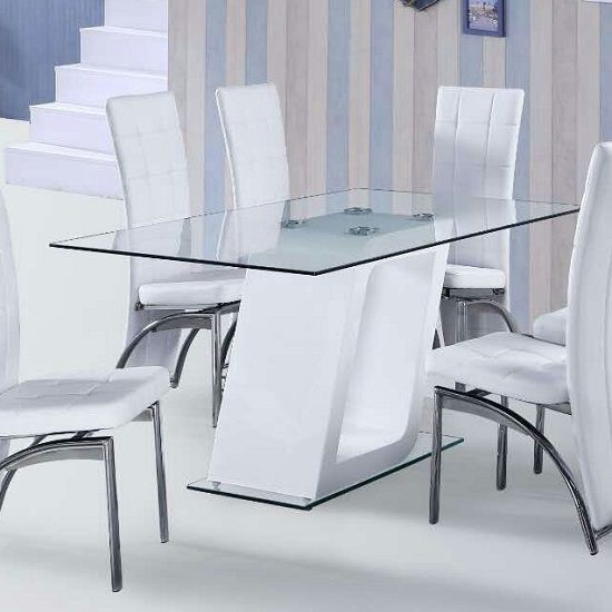 Pisa Glass Dining Table In Clear With White Gloss Pedestal Inspiration White Gloss Dining Room Table Inspiration Design