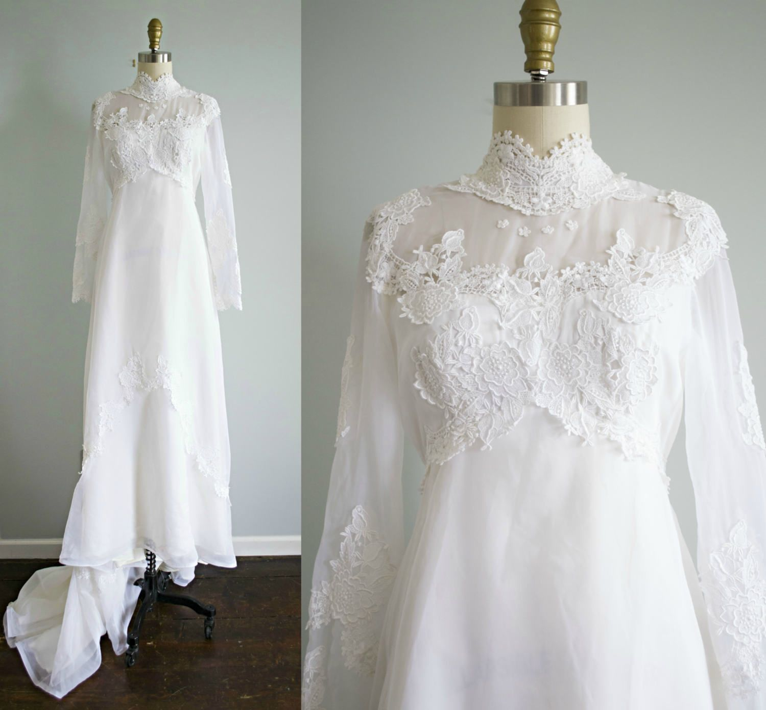 2556223d348f vintage 1970s bohemian white lace and chiffon victorian style wedding dress  . Bridal Originals 70s empire waist gown with train . small by  VelvetPinVintage ...