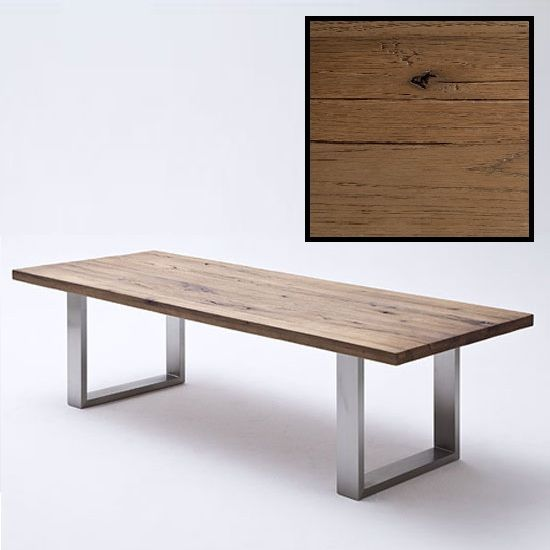 Capello 220cm Bano Oak Dining Table With Stainless Steel