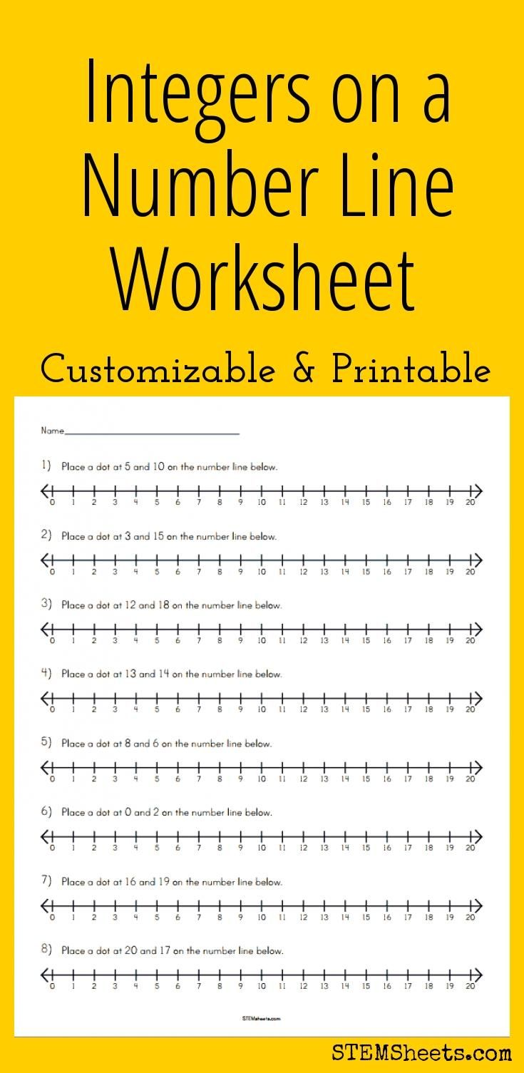 Integers on a Number Line Worksheet Customizable and Printable – Math Integers Worksheets