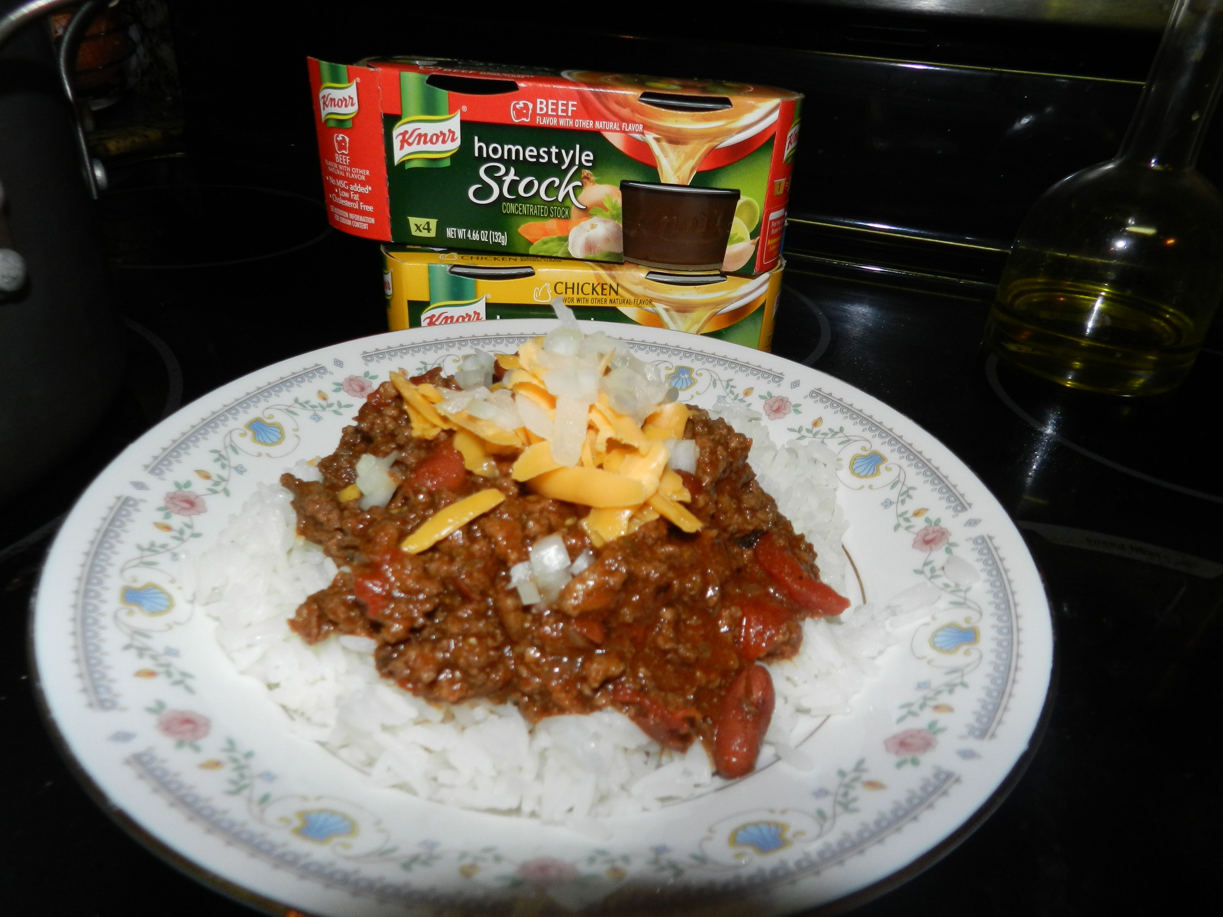 Chili with beef flavored knorr homestyle stock i liked the