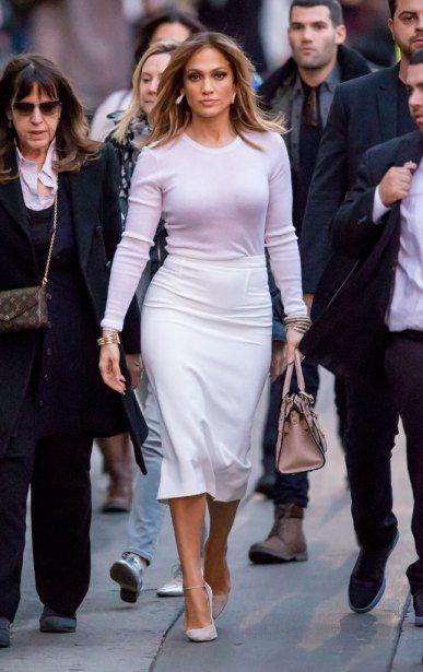 Jennifer Lopez arrives at Jimmy Kimmel Live in Hollywood, CA