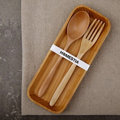 Japanese Wood Wooden Dish Fork Spoon Tray Kitchen Set Chinese Utensils Server