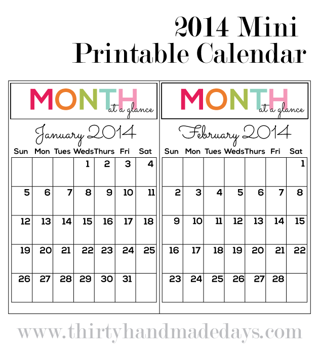 Updated Printable Calendar 2014 Mini Binder Binder And Minis