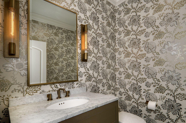 Powder Room with Wallpaper. #powderroom #bathroomideas #bathroom #wallpaper #wallpaperideas