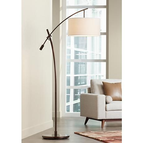 Possini euro bronze finish boom arched floor lamp v2695 lamps plus